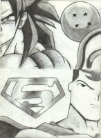Old Goku and Superman Drawing by chaosphoniex
