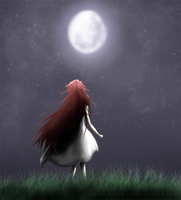 Girl and the Moon by Nelskii