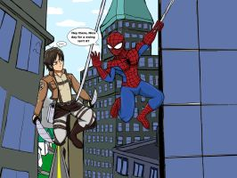 Spidey and Eren out for a swing by WaRrior9100
