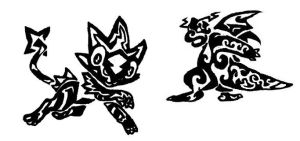 Tribal Luxray and Dragonite by PorridgeBeast