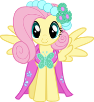 fluttershy dress up to be a bridemaid by FluttershyPony4444