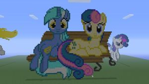MLP Bon Bon and Lyra in Minecraft by o0rolyat0o