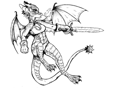 Dragon Girl Clean Inks by rabbitmaskedman