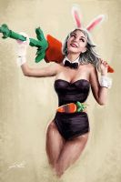 Battle bunny riven pinup by Jackiefelixart