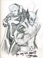 Wolverine and Rogue Sketch by guinnessyde