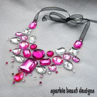 Pink Rhinestone Necklace by Natalie526