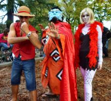 Luffy, Jimbei, Cindry at Lucca 2012 by TheBurningWitch