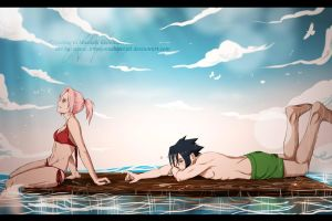 SasuSaku - Ocean Splash by KiraWan