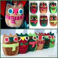Christmas Felt Owls by CraftersBoutique