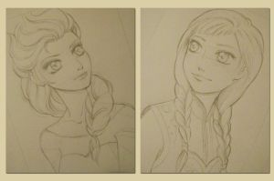 Elsa and Anna sketch by lilie-morhiril