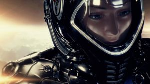 Woman astronaut in space by Ociacia
