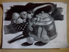 Still life of oranges and a kettle by Ovilia1024