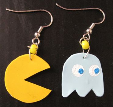 Pacman Earrings by puppy-lou