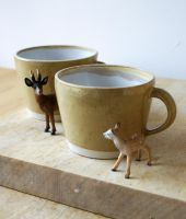 Two yellow frog mugs by scarlet1800