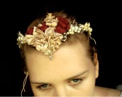 Satin Rose and Peal Headpiece by ammajiger