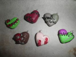 W.i.p. -halloween heart charms by ilikeshiniesfakery