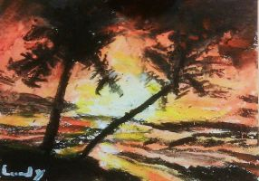 Caribbean Tropical Island Orange Sunset by ScullyNess