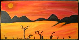 Sunset on desert by Sizhiven