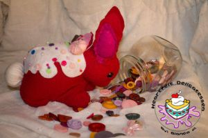 Red Velvetdeir Bunny Plush With Icing and Sprinkle by TheHeartFeltDeli
