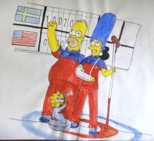 The Simpsons Curling by FigmentOfReality