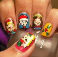Phantom Of The Opera Nails (Christmas Edition) by aleidapinon