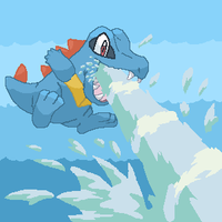 Totodile's Hydro Pump by Exiled-Shadow