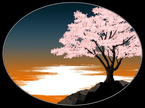Cherry Blossom Sunset by knivel