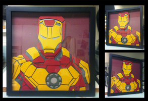 Commission:  Iron Man Shadowbox by The-Paper-Pony