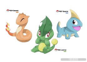 001, 004, 007: Mayhle Starters by LeafyHeart