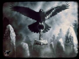 Raven flying with Mjolnir by thecasperart