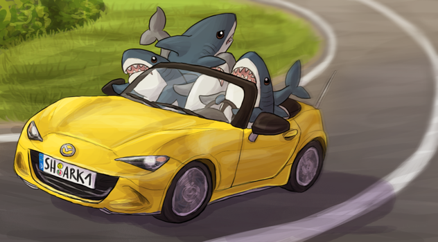 Entirely Too Many Sharks in a Convertible by Krisantyne