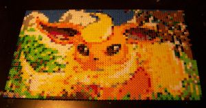Flareon Perler FINISHED by echaltraw
