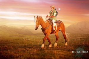 TZP: Link Rides Epona Into the Sunset by Adella