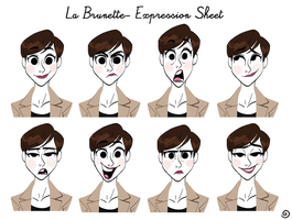 La brunette -Expression sheet by chillyfranco