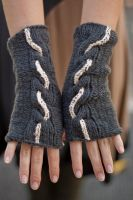Grayscaled Cable Gloves by illuminangel