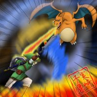Commission: Link and Charizard 2 by kojika
