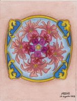 Mandala decoration-Pencil colour practice 3 by HoshiBlue21