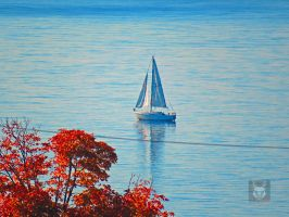 Sailboat In Reflection by wolfwings1
