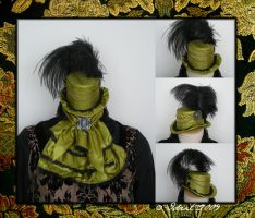 Green silk mini top hat by Idzit