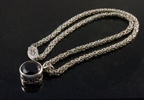 Byzantine Chainmail and Garnet Necklace by obsidiandevil