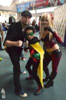 Tom Taylor with Damian Wayne and Harley Quinn by FloresFabrications