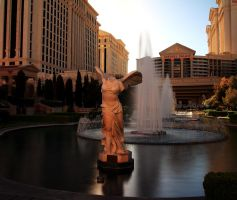 Stock Winged Victory Statue and Fountains by Celem