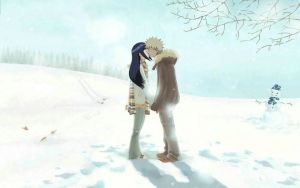 NaruHina kiss in winter by 777luck777