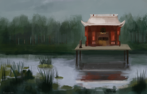 japanese house near swamp by Rezuri88