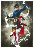 Nightwing, Harley and Impulse by Guy-Bigbelly