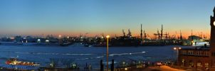 Hamburg Harbor Sunset Panorama by Bull04