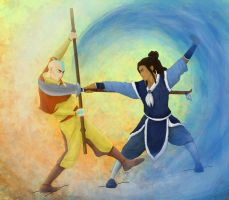 Tenzin and Kya - Air vs Water! by shango266