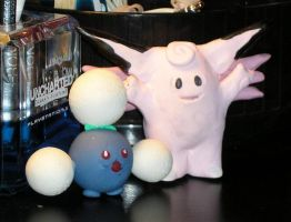 Jumpluff and Clefable by StariaChiba