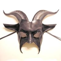 Leather Goat Mask grey black by teonova