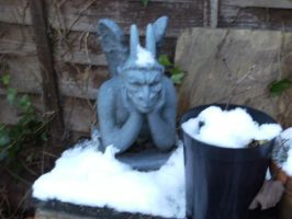 gardengoyle in the snow again by annoyinglizardvoice